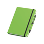 Imitation leather notebook in green with black elastic closure strap and pen loop with colour patch pen