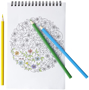 colouring set with open notebook