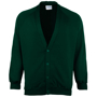Coloursure Cardigan in green with 4 self-coloured buttons, knitted cuff and welt and herringbone taped neck