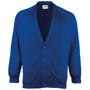 Coloursure Cardigan in blue with 4 self-coloured buttons, knitted cuff and welt and herringbone taped neck