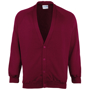 Coloursure Cardigan in burgundy with 4 self-coloured buttons, knitted cuff and welt and herringbone taped neck