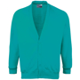 Coloursure Cardigan in teal with 4 self-coloured buttons, knitted cuff and welt and herringbone taped neck