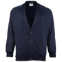 Coloursure Cardigan in black with 4 self-coloured buttons, knitted cuff and welt and herringbone taped neck
