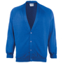 Coloursure Cardigan in light blue with 4 self-coloured buttons, knitted cuff and welt and herringbone taped neck
