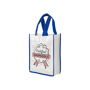 Promotional reusable shopping bag in white with blue trim and company logo printed to the front