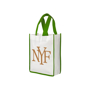 Green trim bag with matching handles, personalised with a logo printed on the front white panel