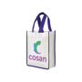 White shopper tote bag with purple handles and matching trim colour