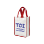 Small shopping bag with red carry handles and matching red trim