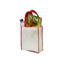 White and red non woven tote bag filled with shopping