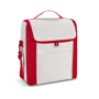 Tall cooler bag in white with red side panels, carry handle and shoulder strap