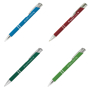 a soft touch metal ball pen shown in four different colourways