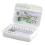 white open plastic first aid box showing contents