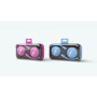 Crystal Headphones in pink and blue with 1 colour logo and colour match case