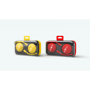 Crystal Headphones in yellow and red with 1 colour print with colour match cases