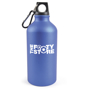 blue metal bottle bottle with carabiner to the lid