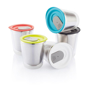 group of small hot drinks travel cups with different coloured lids