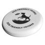 white dog frisbee with 1 colour print