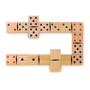 wooden domino pieces with coloured dots to the front