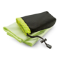 lime green drye towel with black pouch