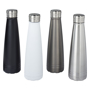 metal insulated drinks bottles in black, white, grey and silver, with silver lid