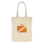 Natural canvas tote bag with branding to one side