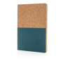 Eco-friendly cork notebook with bottom half coloured blue
