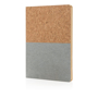 Eco-friendly cork notebook with bottom half coloured white