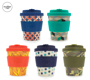 Patterned 8oz eCoffee cups with silicone bands