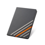 Imitation leather hardcover notebook in black with 4 grey elastic straps and 1 orange elastic closure stra