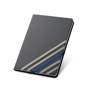 Imitation leather hardcover notebook in black with 4 grey elastic straps and 1 blue elastic closure stra