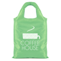 green folding bag with a logo printed on one side