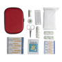 red eva first aid kit pouch and contents