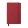 A5 two tone polyester fabric cover notebook in red with red elastic closure strap and ribbon