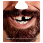 face beer mat with missing tooth