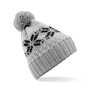 Fair Isle Snowstar Beanie in grey with bobble and white and black colour pattern