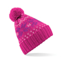 Fair Isle Snowstar Beanie in pink with bobble and white and purple colour pattern