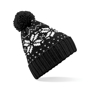 Fair Isle Snowstar Beanie in black with bobble and white colour pattern