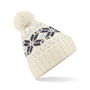 Fair Isle Snowstar Beanie in white with bobble and grey and black colour pattern