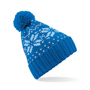 Fair Isle Snowstar Beanie in blue with bobble and blue and grey colour pattern