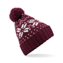 Fair Isle Snowstar Beanie in burgundy with bobble and white colour pattern