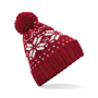 Fair Isle Snowstar Beanie in red with bobble and white colour pattern