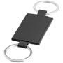 black leather look rectangle with a keyring loop to both short sides and black loops