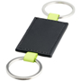 black leather look rectangle with a keyring loop to both short sides and green loops