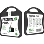 black festival first aid kit with white contents label