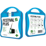 blue festival first aid kit with white contents label