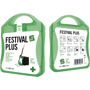 green festival first aid kit with white contents label