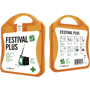 orange festival first aid kit with white contents label