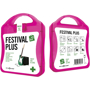 pink festival first aid kit with white contents label