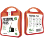 red festival first aid kit with white contents label