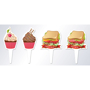4 finger food flags with sandwich and cake designs
